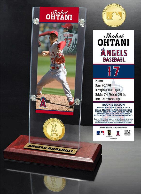 The Highland Mint (ハイランドミント) 大谷翔平 ロサンゼルス・エンゼルス MLBピッチングデビューブロンズコイン入りアクリルデスクトップ (Shohei Ohtani MLB Pitching Debut Ticket & Bronze Coin Acrylic Desk Top)