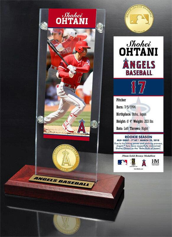 The Highland Mint (ハイランドミント) 大谷翔平 ロサンゼルス・エンゼルス MLB初ヒットブロンズコイン入りアクリルデスクトップ (Shohei Ohtani MLB 1st Hit Ticket & Bronze Coin Acrylic Desk Top)