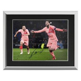 リオネル・メッシ 直筆サインフォト FC バルセロナ ダービー ゴール vs エスパニョール 額装 (Lionel Messi Official Signed FC Barcelona Photo: Derby Goal vs Espanyol)