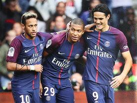 ネイマール 直筆サインフォト パリ・サンジェルマンFC セレブレイティング ウィズ ムバッペ&カバーニ Signed Paris Saint-Germain Photo: Celebrating with Mbappe & Cavani / Neymar Jr. 5/10入荷