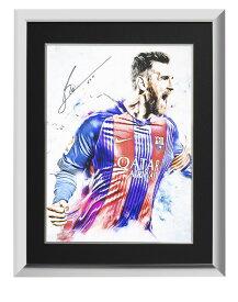リオネル・メッシ 直筆サイン入りアートワーク 額装 FC バルセロナ (Lionel Messi Official Signed Barcelona Artwork) サイズ大 1/30入荷
