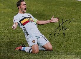 エデン・アザール ベルギー代表 UEFA EURO 2016 ゴール vs ハンガリー代表 直筆サインフォト Eden Hazard Signed Belgium Photo: UEFA EURO 2016 Goal vs Hungary◆セール