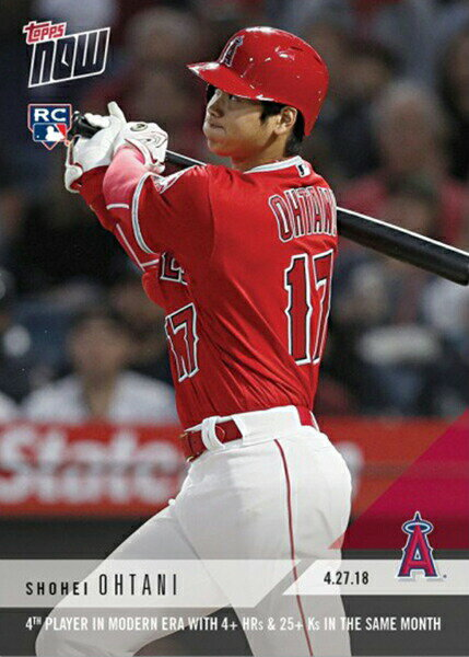大谷翔平 #136 MLB月間4HR&25K以上達成記念 カード 4th Player In Modern Era With 4 + HRs & 25 + Ks In The Same Month - Shohei Ohtani MLB Topps Now Card