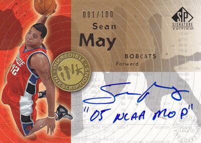 【ショーン メイ】 2005/06 UD SP Signature Edition INKredible INKscriptions 100枚限定! (Sean May) (001/100) (直筆サインカード)