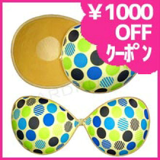 Gentle bathing suit style ボーブラエア lights dot polka dot blue x green 蒸れない! Swimsuit with tube top cleavage bra bust up Bra \5000
