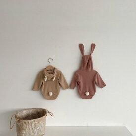 ロンパース ウサギ クマ 赤ちゃん リブ素材 着ぐるみ ベビー服 通年用 コーデュロイ Berpy 70 80 90サイズ