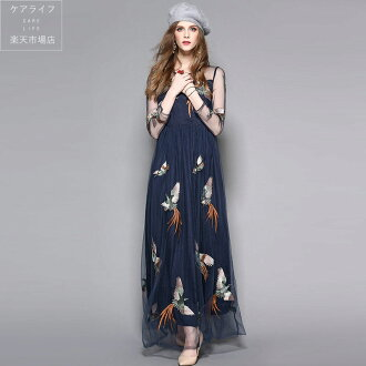 Openwork floral design embroidery nostalgic pattern race dress wedding ceremony party ♪ Europe and America Lady's fashion frill high-quality article wedding ceremony dress seven minutes sleeve long sleeves wedding ceremony party dress knee-length dress l
