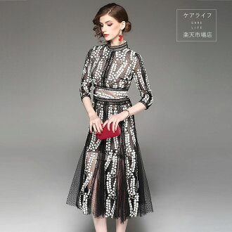The size that party dress long sleeves three-quarter sleeves wedding ceremony dress floral design dress wedding ceremony party dress wedding ceremony dress wedding ceremony high quality dress adult dress second party embroidery dress dress knee long dres