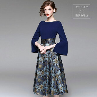It is recommendation in the sleeve trumpet sleeve long dress change dress banquet floral design skirt looking thinner flare dress medium length long length change wedding ceremony floral design dress high quality party for Europe and America brand design
