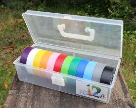 カラーテープBOX入プラBOX入カラーテープ12色(黒・灰・白・赤・橙・青・空・緑・若草・黄・ピンク・紫)デンカ(株)ハーネステープ1巻:19mm幅×20m【12色入】ビニールテープ #234W