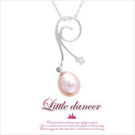 【送料無料】真珠の上を軽やかに。【Little dancer 】K10ホワイトゴールド・パール×天然ダイヤモンドモチーフネックレス【発送目安:2〜3週間】【n】