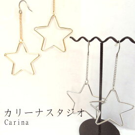 Carina ピアス チタンフック アクセサリー スター 星型 大振り ニッケルフリー 300円アクセサリー TP-3410 TP-3411