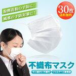 在庫ありマスク30枚使い捨てフェイスマスク三層構造不織布マスク花粉対策男女兼用大人用フェイスマスク【PN】