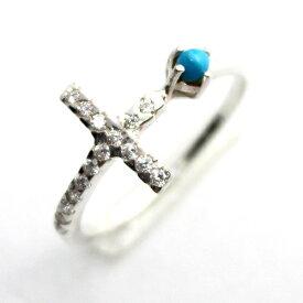 クロス 十字架 リング 指輪 シルバー925 ジルコニア ターコイズ レディース ピンキーリング