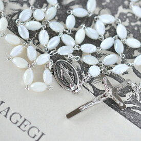 正規品!不思議のメダイ、奇跡のメダイ教会のロザリオ(真珠母)聖母像 聖堂 ネックレス【メール便、小型宅配便】