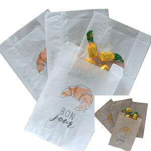 フランス・パリのお土産 フランス マルシェ袋 ヴィエノワズリー袋 クロワッサン柄パン袋(M)10枚セット(ホワイト5枚、クラフト5枚)【メール便、宅配便コンパクト可】