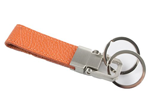 awesome オーサム マルチカラー レザーキーリング bタイプ オレンジ×シルバー 本革 askey201 4560489993935