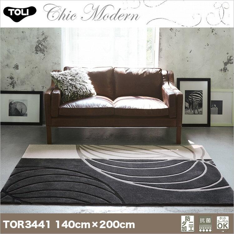 【東リ】ラグ TOR3861(TOR3646) 140cm×200cmリーフ柄もグレイッシュカラーでシックなデザインに。リーフ柄もグレイッシュカラーでシックなデザインに。