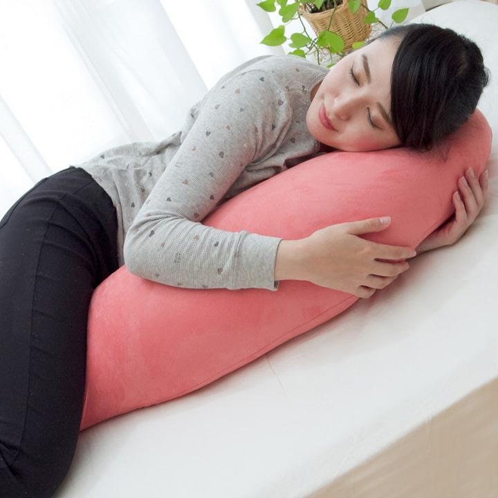 抱き枕 ビーズクッション 日本製「 シュクレ抱き枕 」【IT】サイズ(約):40×115cm選べる6色展開極小ビーズ使用 抱きまくら 授乳クッション 妊婦 ロング枕 枕 マクラ ビーズ カバー スエード ストレッチ素材 安眠