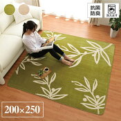 ラグマット洗えるカーペット3畳「WSパキラ」【IT】約200×250cmグリーン、ベージュホットカーペットカバー3畳用花柄シンプルフランネルラグカーペット長方形床暖房対応