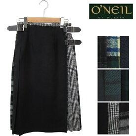 【先行予約10月入荷予定】O'NEIL OF DUBLIN オニールオブダブリン パッチワーク スカート ウール ロング丈 ラップスカート 73cm ロング レディース 124 キルト 巻きスカート オニール オブ ダブリン