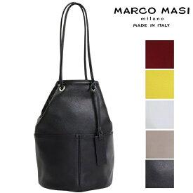 Marco Masi マルコマージ 巾着バッグ ブラック ホワイト バッグ レディース イタリア製 牛革 本革 レザー トートバッグ 2836 ショルダーバッグ コンサバ