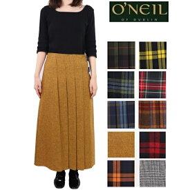 O'NEIL OF DUBLIN オニールオブダブリン スカート ウール100% ロング丈 前プリーツ ラップスカート 81cm ロング レディース キルト 巻きスカート オニール オブ ダブリン