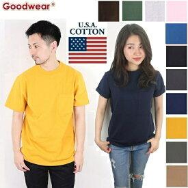 GOODWEAR グッドウェア good wear Tシャツ ポケット付き クルーネック メンズ レディース 無地 丸首 カットソー ポケット コットン
