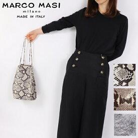 Marco Masi マルコマージ 巾着バッグ パイソン 蛇柄 シルバー バッグ レディース イタリア製 牛革 本革 2836 トートバッグ コンサバ