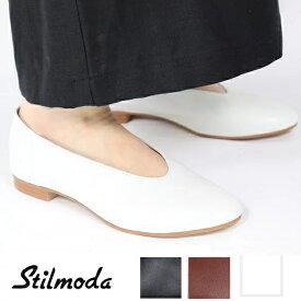 Stilmoda スティルモーダ 7602 イタリア製 レザーシューズ レディース バレエシューズ 本革 ぺたんこ靴 パンプス ヒール バブーシュ