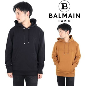 バルマン BALMAIN PARIS プルオーバ− パーカー フード付き EMBOSSED HOODIE メンズ レディース ロゴ コットン