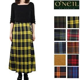 オニールオブダブリン O'NEIL OF DUBLIN スカート ウール100% ロング丈 前プリーツ ラップスカート 81cm ロング レディース キルト 巻きスカート オニール オブ ダブリン