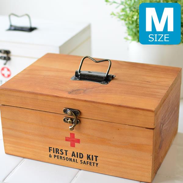 救急箱 かわいい おしゃれ 木製 救急セット 大 容量 薬 収納 ファーストエイドボックス Mサイズ アンティーク