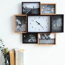 ビット7 フォトフレーム 時計 置き型 壁掛け おしゃれ 写真立て 複数 木製