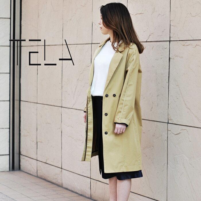 ◇2017s/s新作テラ◇  TELA[テラ]フライフロントベルトデザインスプリングコットンロングコート BOSICO
