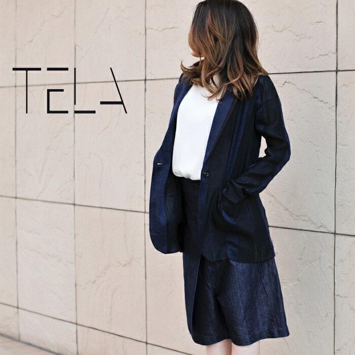 ◇2017s/s新作テラ◇  TELA[テラ]マテリアルコンビネーションストライプテーラードジャケット TRIROGLIO