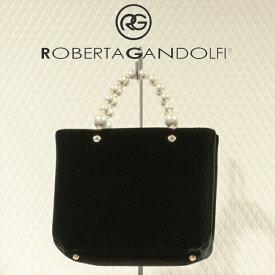 ROBERTA GANDOLFI[ロベルタ ガンドルフィー]パールハンドルベルベットスクエアハンドバッグ7A 1512
