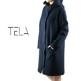 TELA[テラ]フライフロントフードウールコート 7A ESAME/AGELLATO