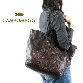 ◇CAMPOMAGGI[カンポマッジ]ビンテージ加工サイドレーザーカットプリントマスクデザインスタッズハンドトートバッグ7A C5075