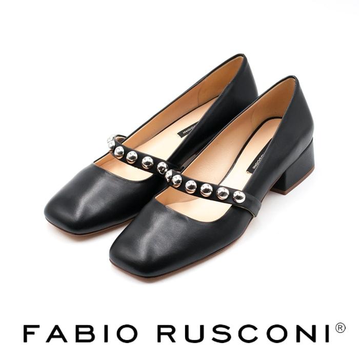 ◇FABIO RUSCONI[ファビオ ルスコーニ]スクエアトゥボールスタッズストラップパンプスブラック E-1316