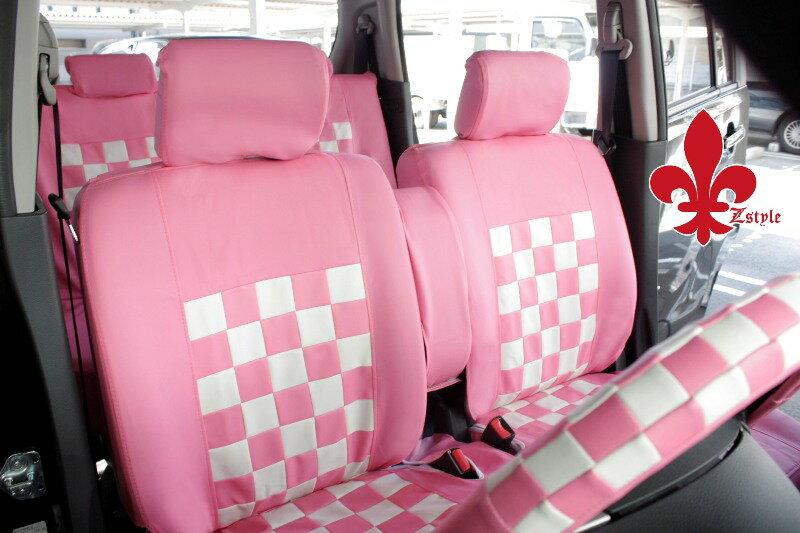 軽自動車汎用シートカバー 前席シートカバー SeatCover ピンク&ホワイト 送料無料