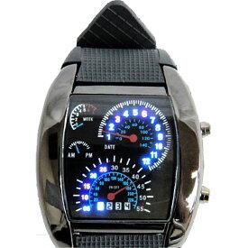 スピードメーター風 メンズ 腕時計 青色LED点灯 ガンメタ デジタルウォッチ レーシングカー 【おもちゃ・ホビー用品・楽器】