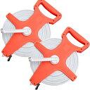 テープメジャー 100m 測定器 2個セット ハンドル付き 手提げ付き 巻き尺 【DIY・工具】