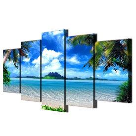絵画 キャンバス パネルアート インテリアアートBeach Blue Palm Trees 5枚セット