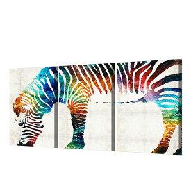インテリアアート キャンバス パネルアート 動物 ゼブラ Stremer color Zebra 個性派 40cm×60cm 3枚セット