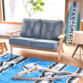 HuntingtonII2PSofaデニムソファ西海岸スタイルソファ無垢材2人掛けソファソファー