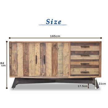 ブルックリンスタイル古材西海岸リサイクルウッドCOASTALサイドボード(リビングボード無垢材リビングチェスト収納チェスト)