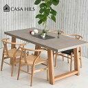 ダイニングテーブル MERIDIAN DINING TABLE コンクリート天板 160cm180cm セメント オーク無垢材 casa hils カーサヒ…