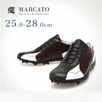ゴルフシューズ 本革 カジュアル Marcato|おしゃれ 靴 シューズ 革靴 メンズシューズ 紳士靴 スポーツ レザー 本革 かっこいい レザーシューズ 男性靴 皮靴 メンズ スパイク ゴルフ 紐 ゴルフスパイク ゴルフ用品 スポーツシューズ カジュアルシューズ 韓国 28cm