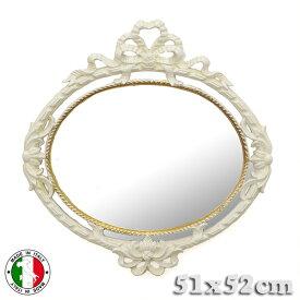 イタリア製 アンティーク調 壁掛け 鏡 楕円 ベージュ ホワイト オーバル リボン 白家具 レトロ 姫系 デコレーション ier-493be